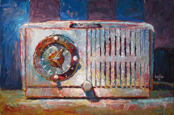 """""""GE Clock Radio White"""" original fine art by Raymond Logan"""