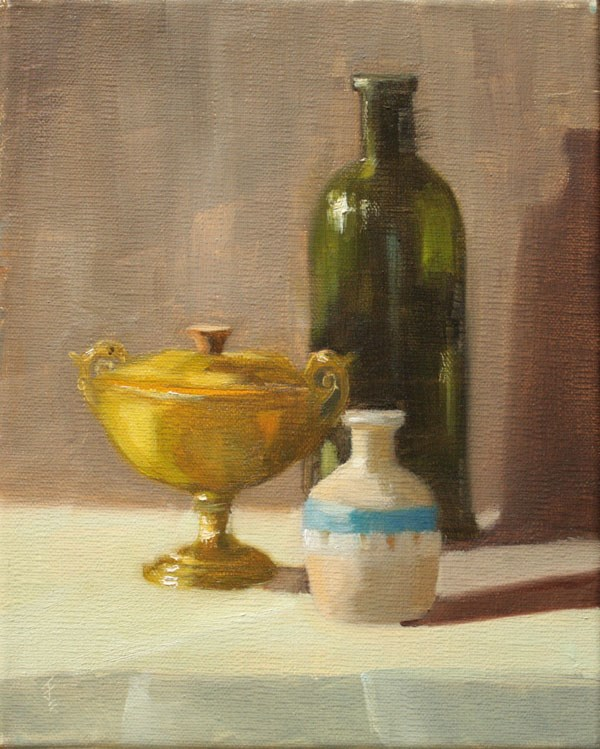 """Still Life with Bottle"" original fine art by Jane Frederick"