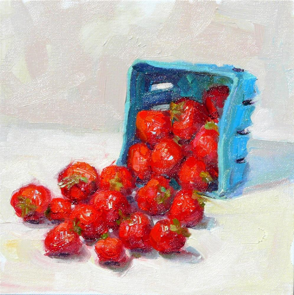"""Box of Strawberries,still life,oil on canvas,8x8,price$250"" original fine art by Joy Olney"