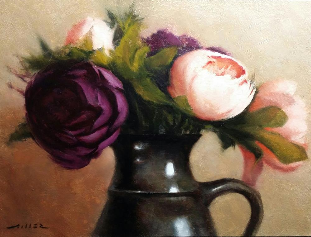 """Peonies in Jug"" original fine art by Nathan Miller"