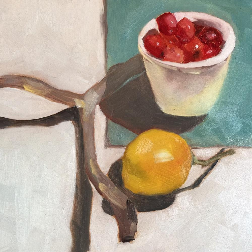 """107 Cranberries in a Cup"" original fine art by Jenny Doh"
