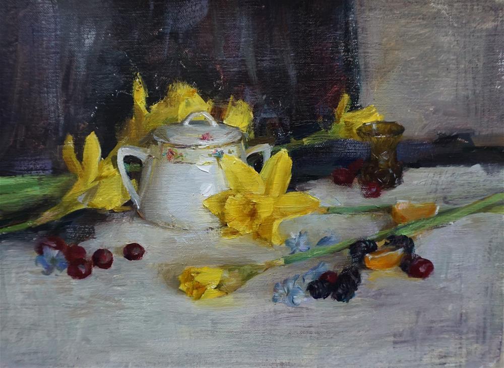 """still life with daffodils"" original fine art by Taisia Kuklina"