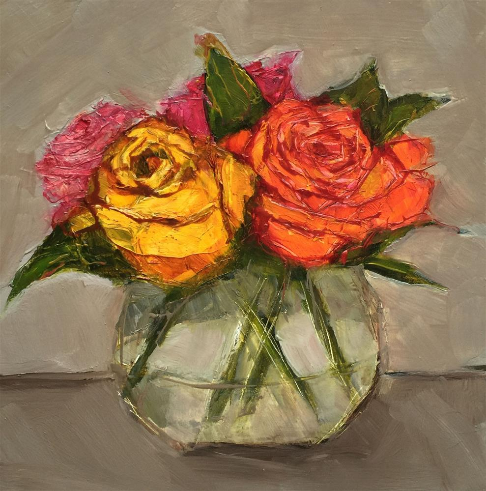 """STILL LIFE Floral Flower Roses Color Original Art Colette Davis 6x6 Painting OIL"" original fine art by Colette Davis"