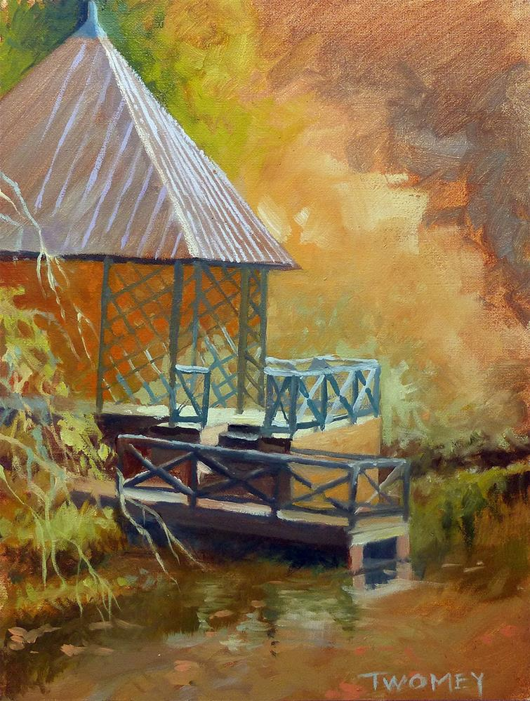 """""""The Biltmore Boat House Landscape"""" original fine art by Catherine Twomey"""
