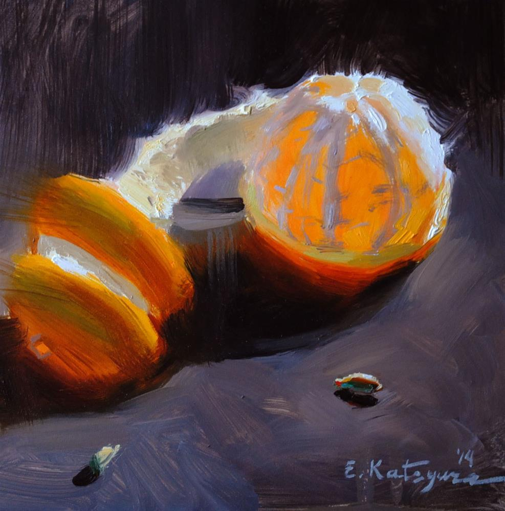 """Tangerine on Black"" original fine art by Elena Katsyura"