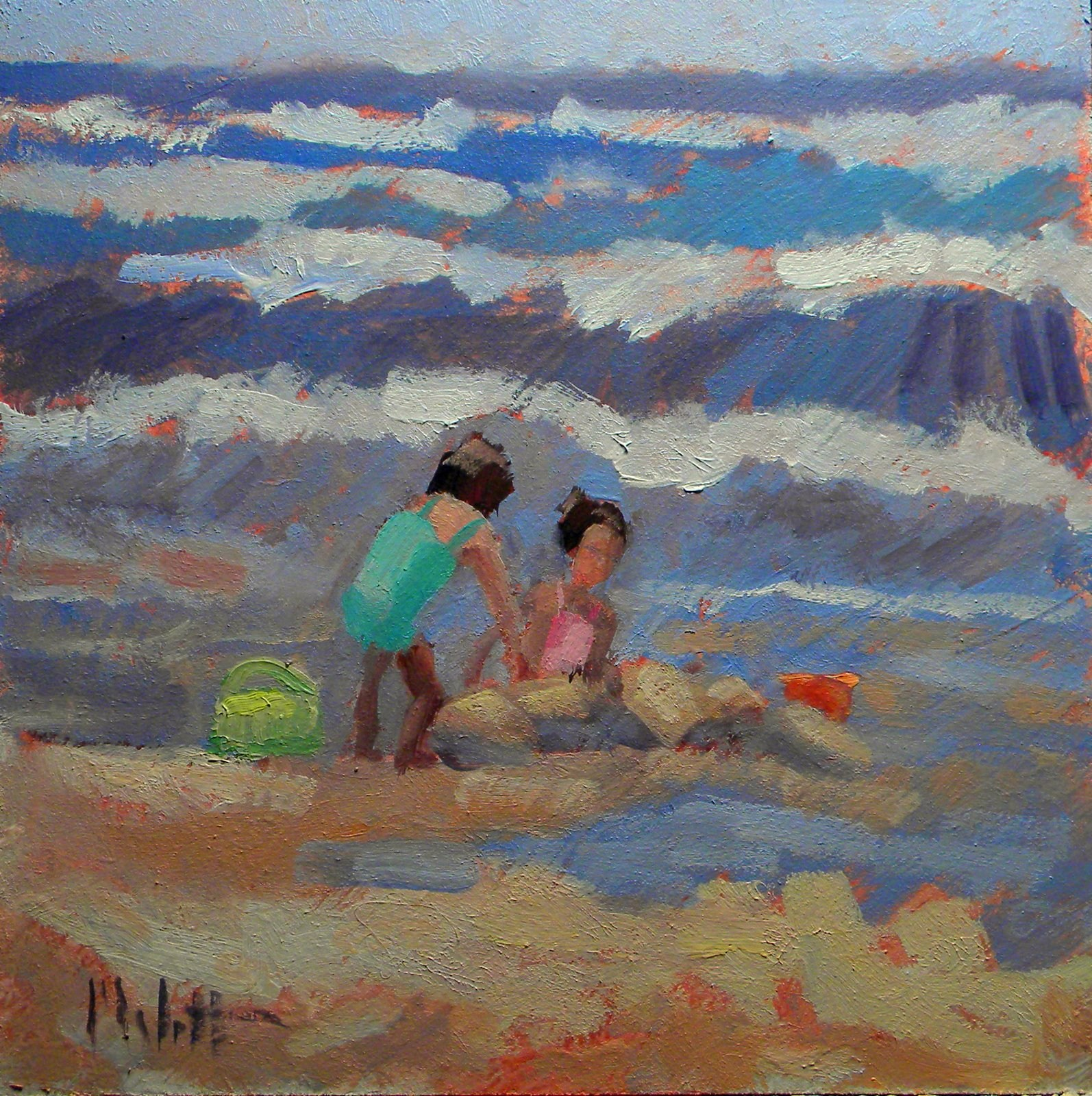 Sisters Beach Painting Girlfriends Sandcastles Contemporary Impressionism original fine art by Heidi Malott