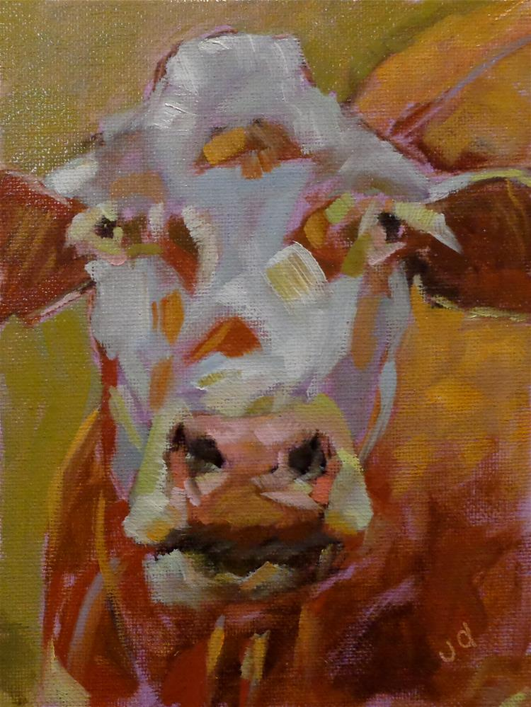 """Cow 30 I HAVE TIME ON MY SIDE"" original fine art by Jean Delaney"