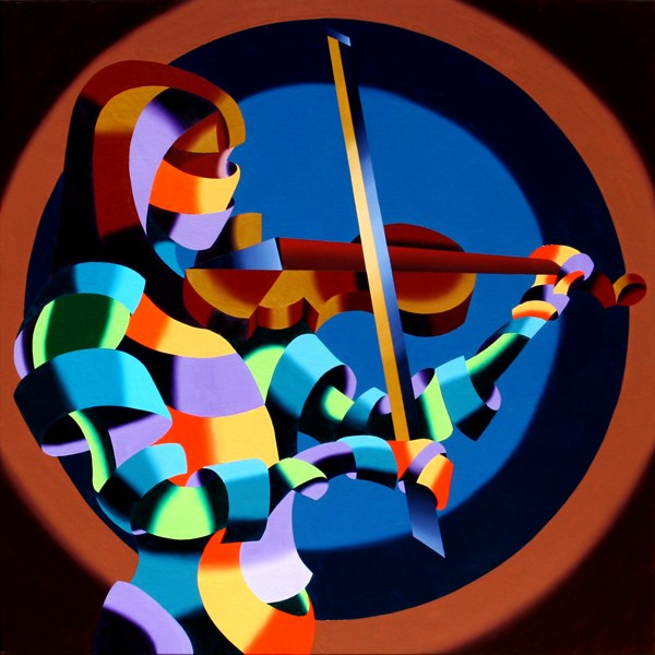 """Mark Webster Artist - The Violinist - Abstract Geometric Futurist Figurative Painting"" original fine art by Mark Webster"