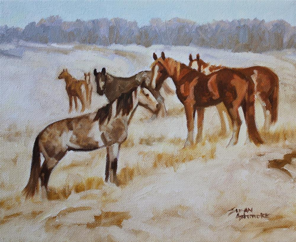 """Who let the cold in?    8 x 10 in"" original fine art by Susan Ashmore"