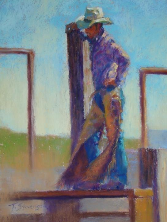 """Cowboy on Chutes"" original fine art by Trish Stevenson"