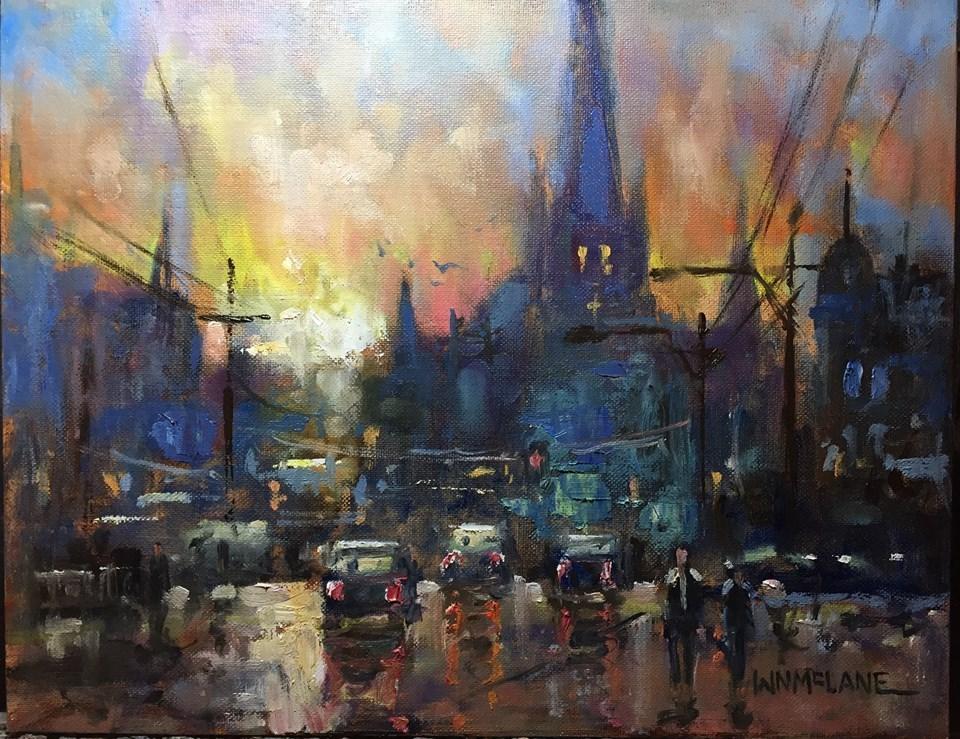 """City Steeples"" original fine art by William  McLane"