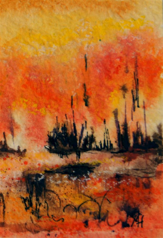 """Fire Swamp 2 ACEO"" original fine art by Marion Hedger"