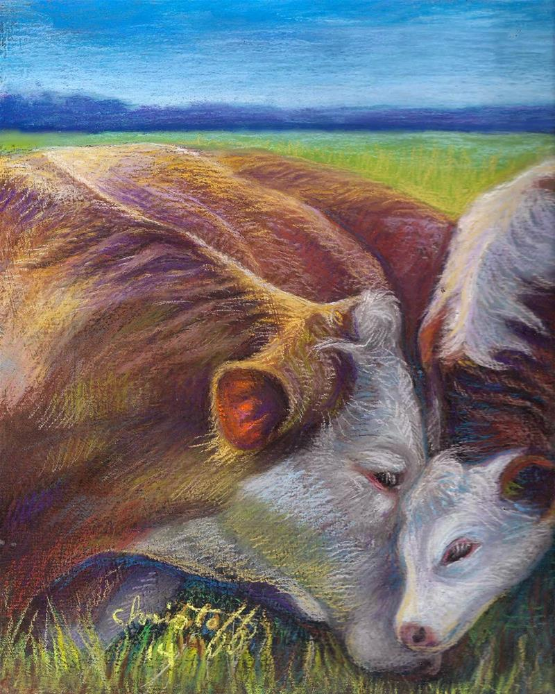"""""""Buttercup and Son Animals, pastel, 8 x 10"""" original fine art by emily Christoff-Flowers"""