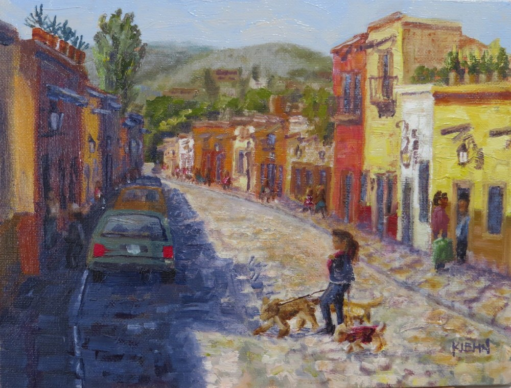 """Dog Walker in San Miguel de Allende"" original fine art by Richard Kiehn"