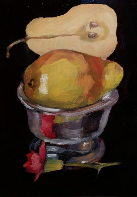 """Pears In Silver Bowl"" original fine art by Wendy Starita"