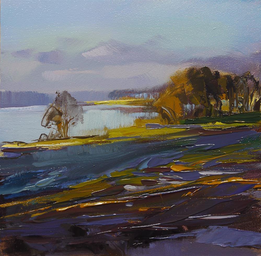 """lake in  winter"" original fine art by Beata Musial-Tomaszewska"