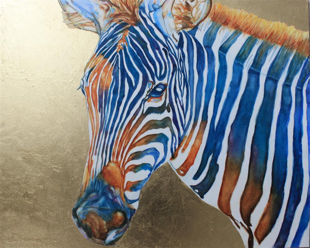 """Colorful Zebra"" original fine art by Christiane Kingsley"