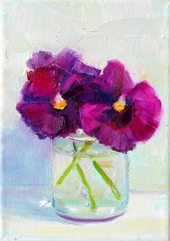"""Purple Pansies in a Jar,still life,oil on canvas,7x5,price$150"" original fine art by Joy Olney"