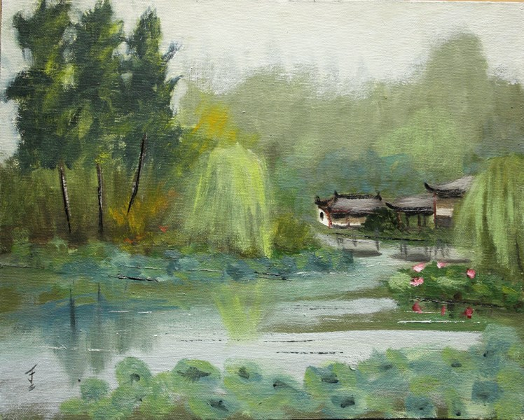 """West Lake Pagoda - Hangzhou, China"" original fine art by Jane Frederick"