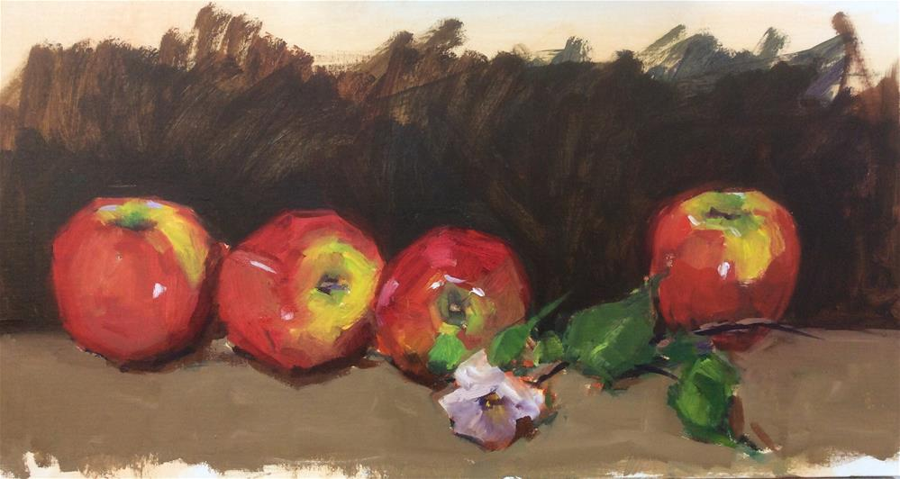 """Apple study with flower"" original fine art by Laurie Johnson Lepkowska"