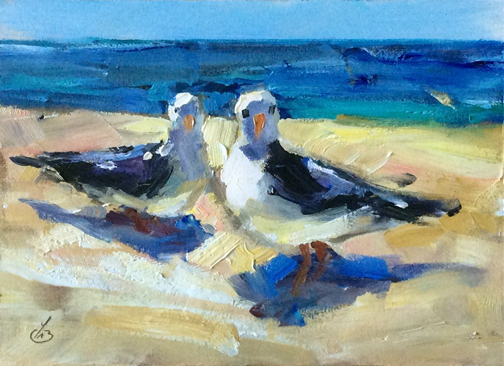 """SEAGULLS "" original fine art by Tom Brown"