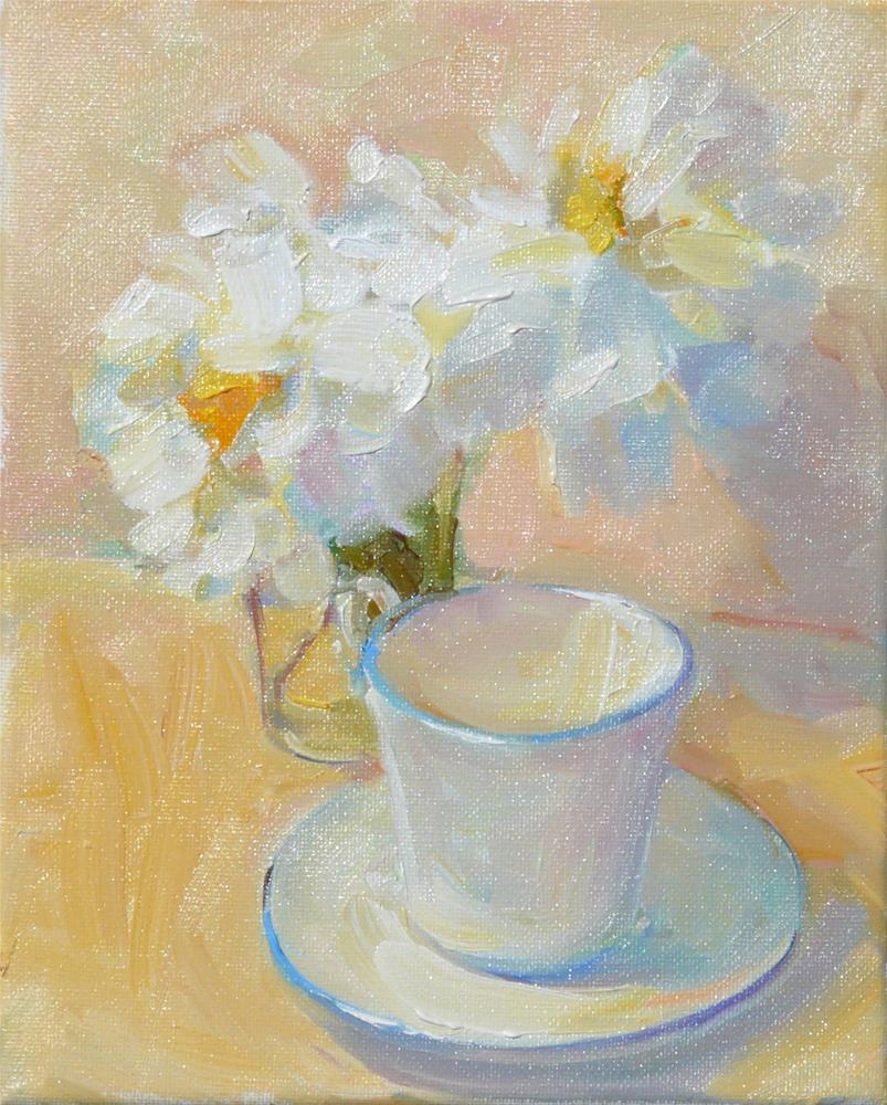 """Cup with Peonies,still life,oil on canvas,10x8,price$375"" original fine art by Joy Olney"