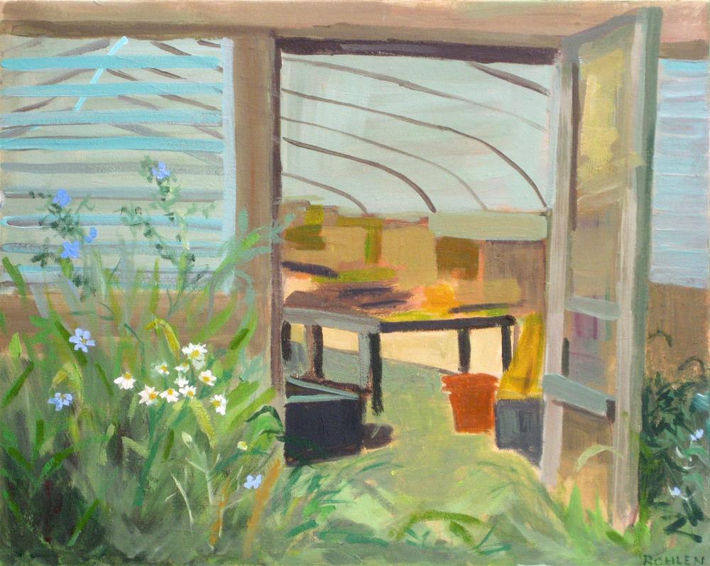 """Greenhouse @ Valley Milkhouse"" original fine art by Priscilla Bohlen"