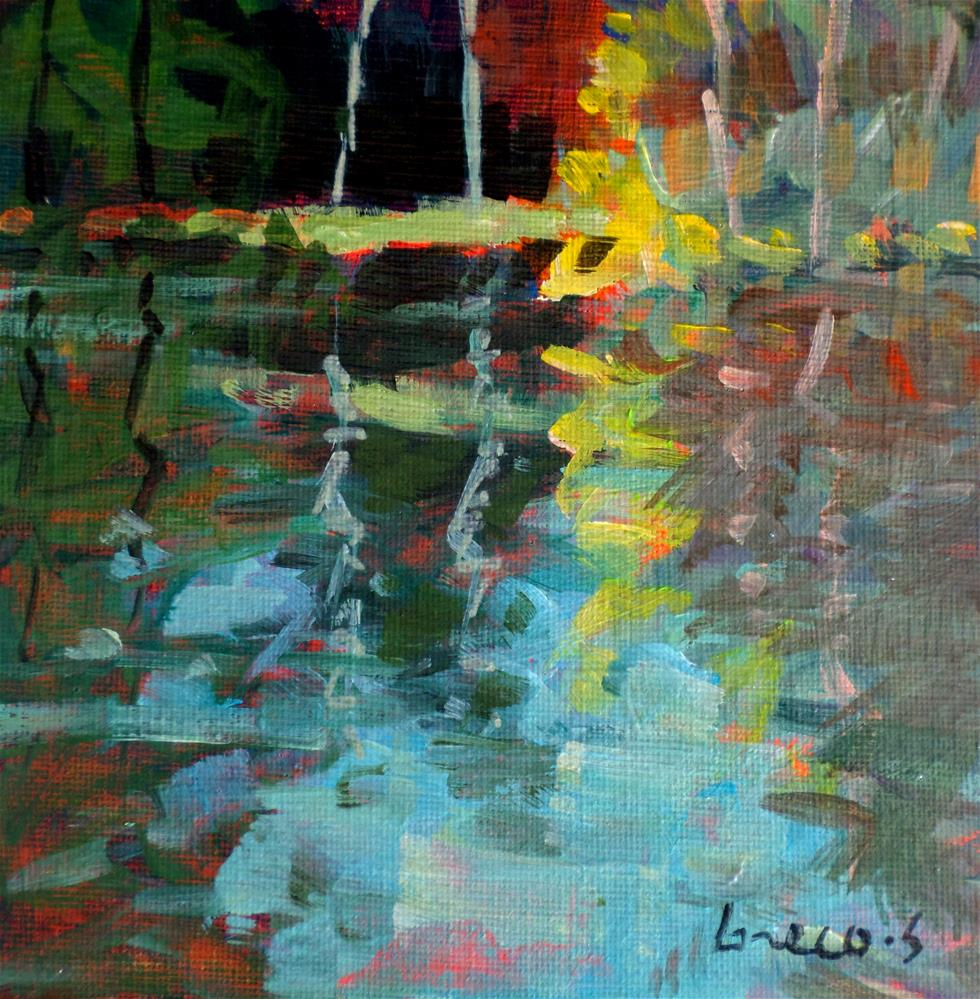 """REFLEXTION IN POND"" original fine art by salvatore greco"