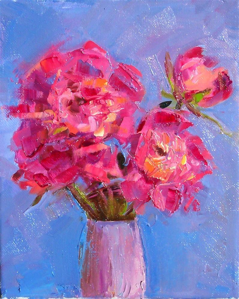 """Pink Peonies,still life,oil on canvas.10x8,price$195"" original fine art by Joy Olney"