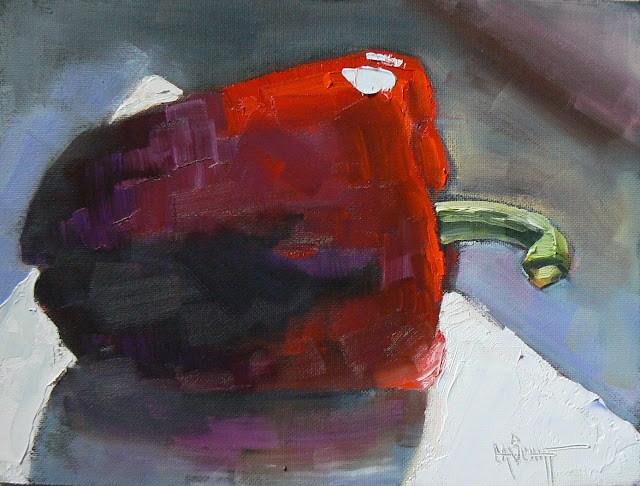 "Still Life Daily Oil Painting ""Le Belle Poivron Rouge"", 6x8"" original fine art by Carol Schiff"