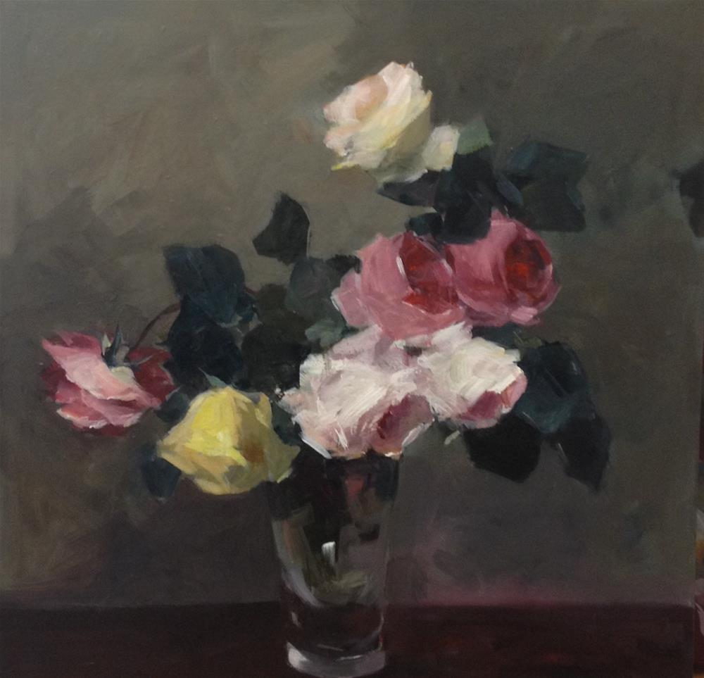 """Garden roses in a glass vase"" original fine art by Parastoo Ganjei"