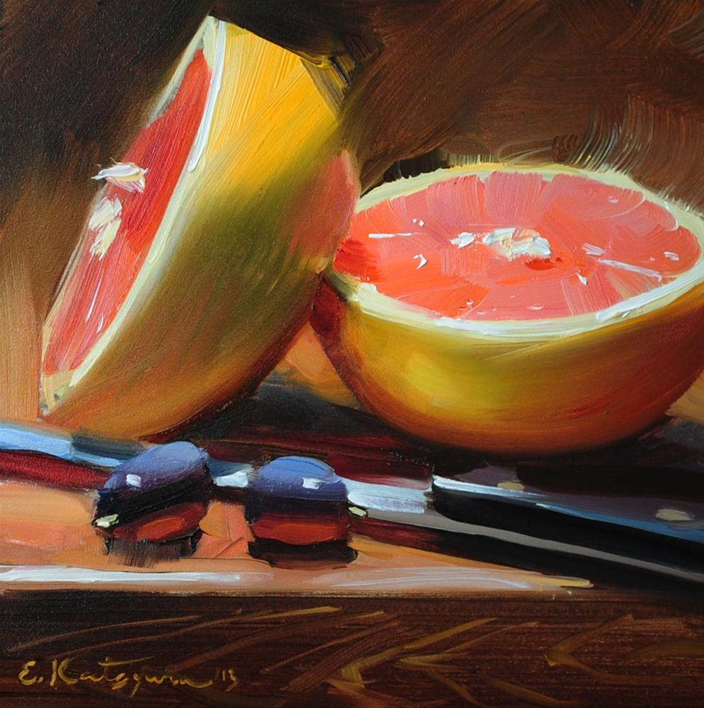 """Grapefruit Halves"" original fine art by Elena Katsyura"