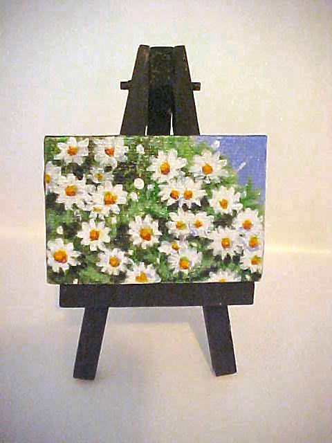 """""""Daisies in Spring with Easel"""" original fine art by Patricia Ann Rizzo"""