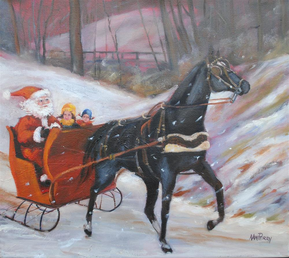 """Sleigh Ride with the Man"" original fine art by Nan Perry"