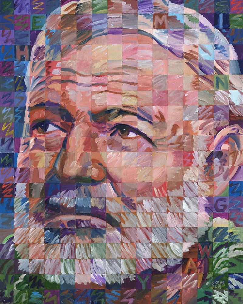 """Ernest Hemingway #3"" original fine art by Randal Huiskens"