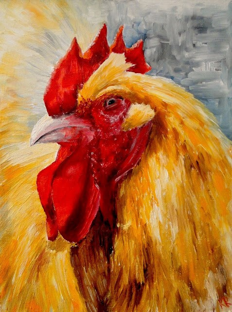"""Golden rooster"" original fine art by Karen Robinson"