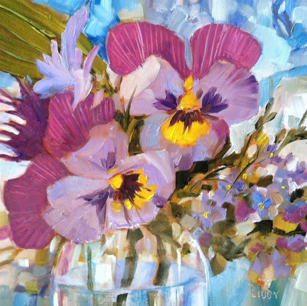 """Pansy Party"" original fine art by Libby Anderson"