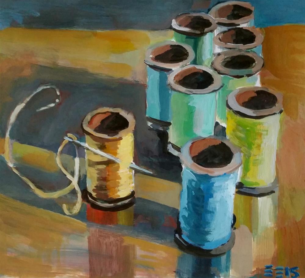 """Sewing Table"" original fine art by Liz Maynes"