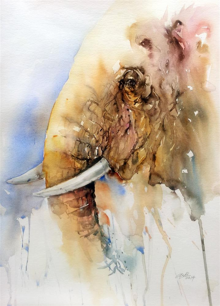 """From this Side_Elephant"" original fine art by Arti Chauhan"