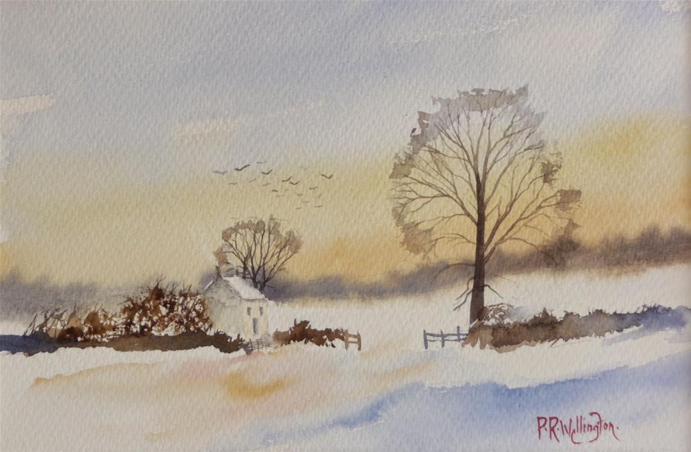"""Winter Sunset"" original fine art by Peter Wellington"