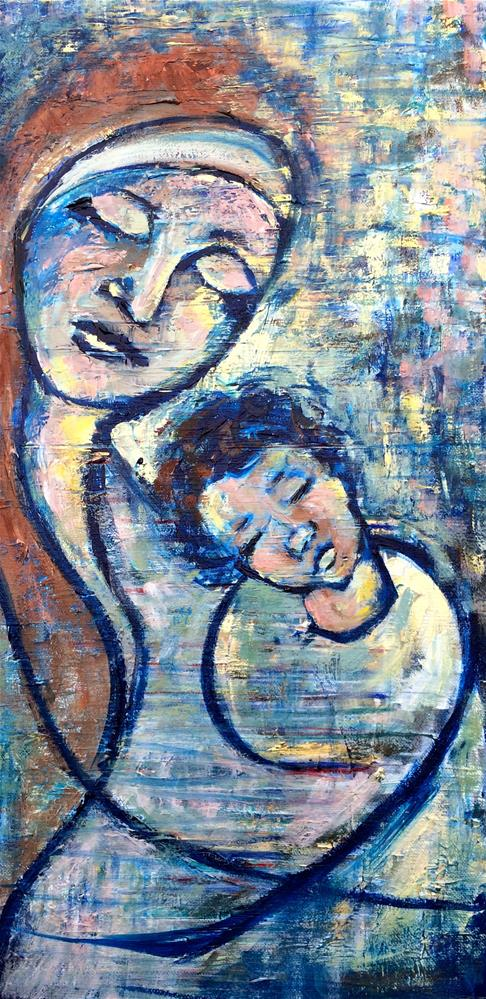 """Blue Madonna"" original fine art by Denise Hopkins"