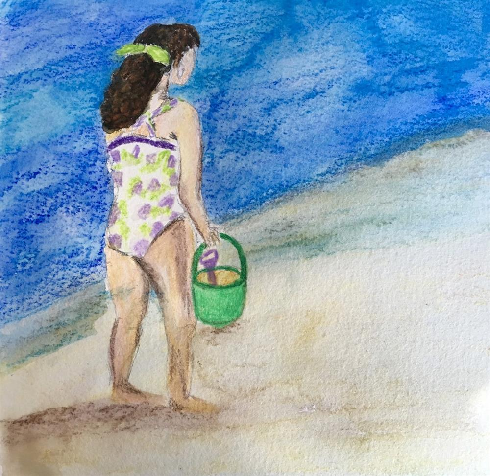"""The Shell Gatherer"" original fine art by Kimberly Balentine"