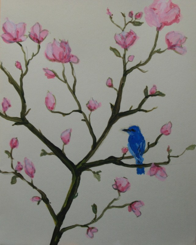 """Bluebird in a Tulip Tree"" original fine art by Jean Nelson"