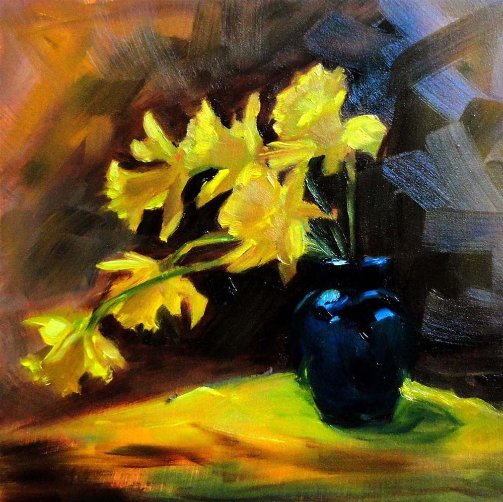 """""""Rain-Drenched Daffodils"""" original fine art by Cietha Wilson"""
