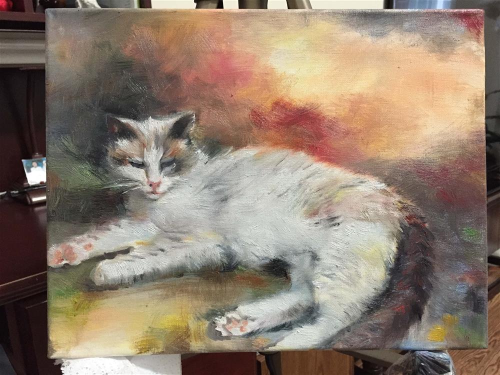 """""""cat"""" original fine art by Wenqing Xu"""
