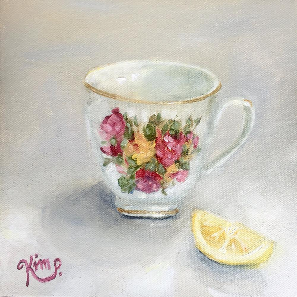 """Teacup painting I"" original fine art by Kim Peterson"