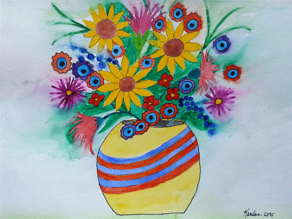 """Happy Bouquet"" original fine art by Karleen Kareem"