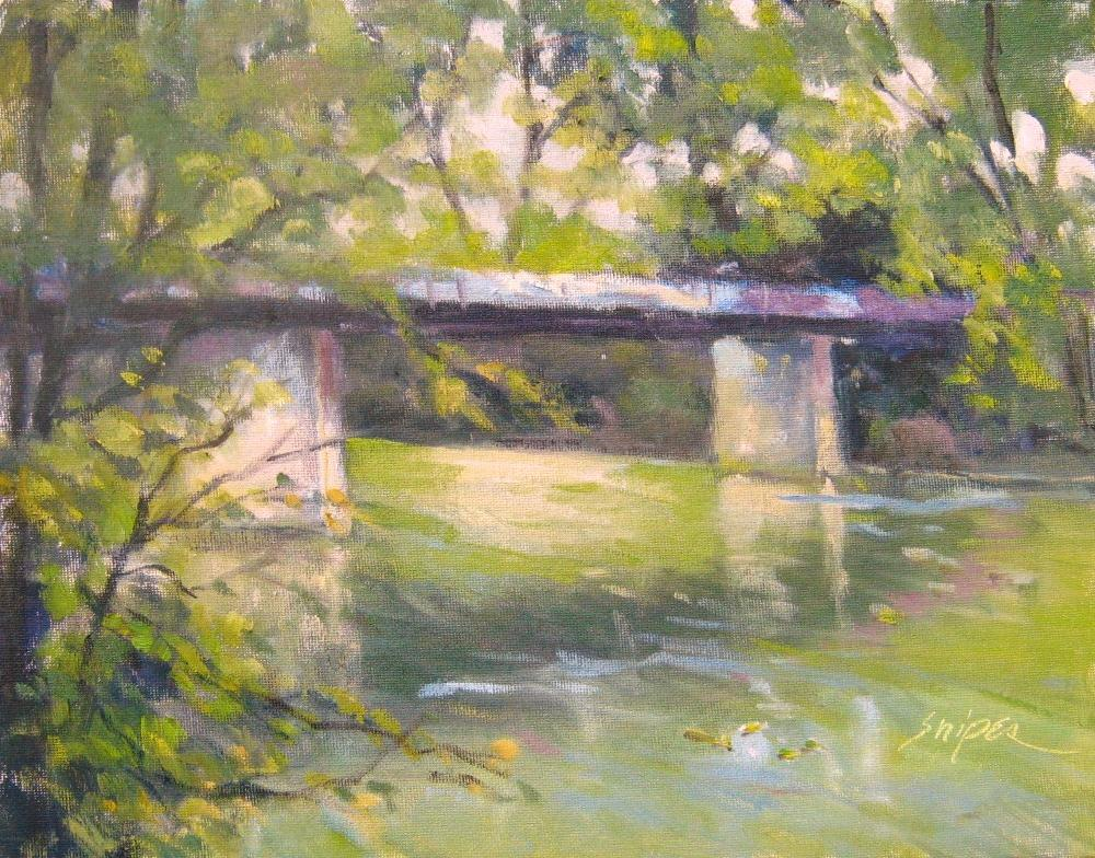 """Bridge over Cowpasture River"" original fine art by Connie Snipes"
