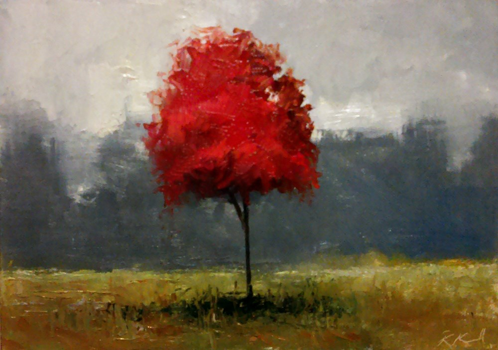 """The Red Tree in the Field"" original fine art by Bob Kimball"
