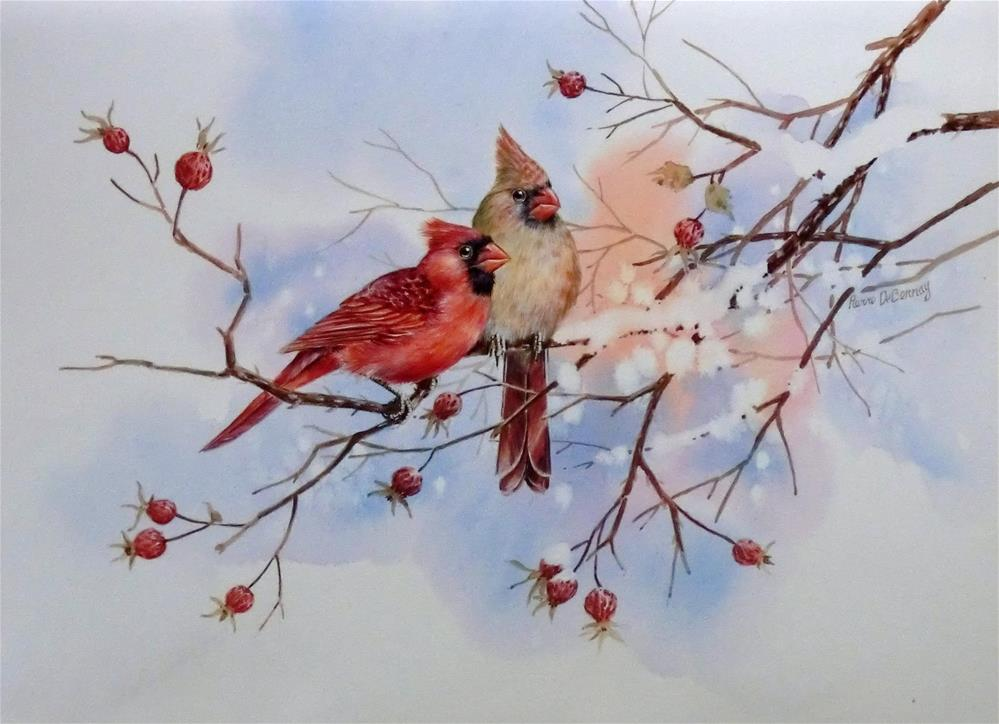 """Pair of Cardinals"" original fine art by Jean Pierre DeBernay"